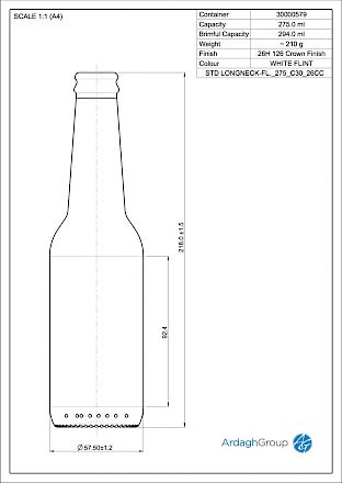 Longneck 275 ml, bright glass bottle Glass bottles - Bevpak
