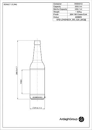 Longneck 50 cl, brown glass bottle Glass bottles - Bevpak