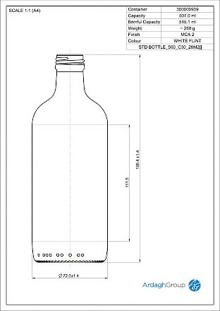 Std 500 ml, bright glass bottle Glass bottles - Bevpak