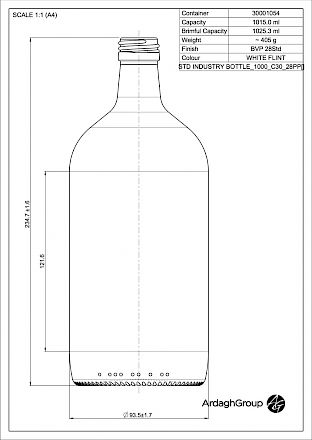 Std 1000 ml, bright glass bottle Glass bottles - Bevpak