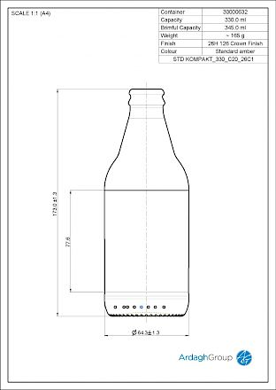 Kompakt 33 cl, brown glass bottle Glass bottles - Bevpak